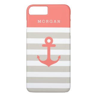 珊瑚ベージュ色ストリップ-かわいく航海のないかりのモノグラム iPhone 8 PLUS/7 PLUSケース