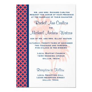珊瑚及び濃紺のビーチ結婚式の招待状 カード