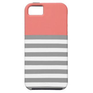 珊瑚及び灰色5つの5s iPhoneの箱を縞で飾ります iPhone SE/5/5s ケース