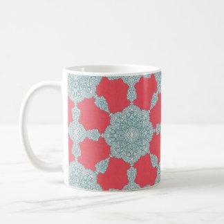 珊瑚及び青 コーヒーマグカップ