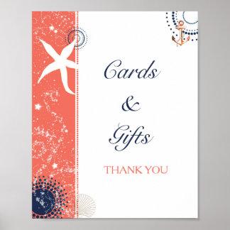 珊瑚海軍ビーチ結婚式のカード及びギフトの印 ポスター