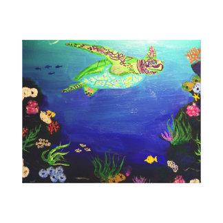 珊瑚礁のウミガメ キャンバスプリント