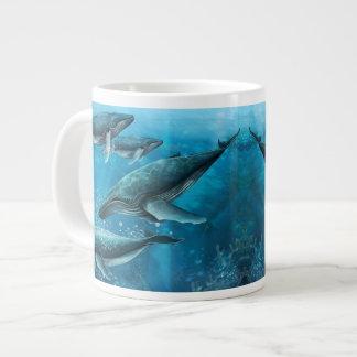 珊瑚礁のクジラのジャンボマグ ジャンボコーヒーマグカップ