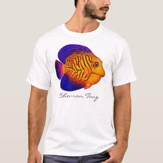 珊瑚礁のシェブロンの独特の味の魚のTシャツ Tシャツ