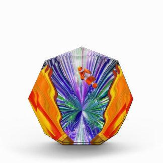 珊瑚礁の抽象美術のClownfish青い賞 表彰盾