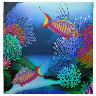 珊瑚礁の自動点滅装置のベラの魚のナプキン ナプキンクロス