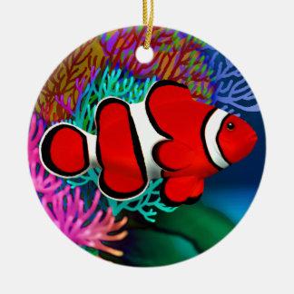 珊瑚礁のClownfishの赤いオーナメント セラミックオーナメント