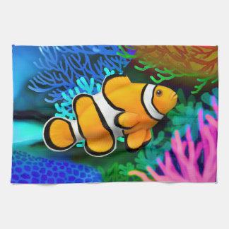 珊瑚礁のPercula Clownfishの台所タオル キッチンタオル