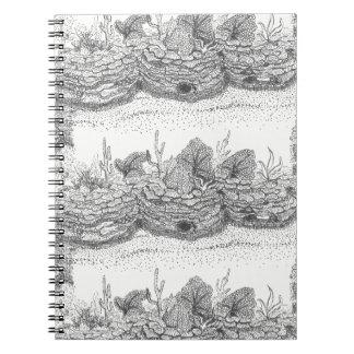 珊瑚礁インクイラストレーションの螺線形ノート ノートブック
