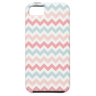 珊瑚、ピンク、青いシェブロン iPhone SE/5/5s ケース