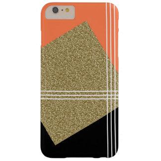 珊瑚、黒および金ゴールドの正方形 BARELY THERE iPhone 6 PLUS ケース