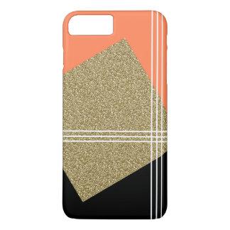 珊瑚、黒および金ゴールドの正方形 iPhone 8 PLUS/7 PLUSケース