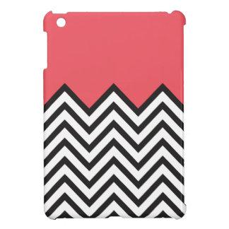 珊瑚、黒く及び白いシェブロン iPad MINI カバー