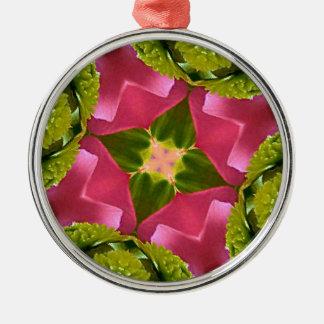 珍しい上品のバラの緑の花柄のkaleidescope メタルオーナメント