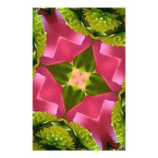 珍しい上品のバラの緑の花柄のkaleidescope 便箋