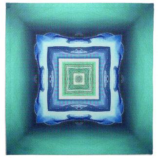 珍しくモダンで青いSeagreen幾何学的なパターン ナプキンクロス