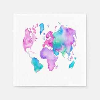 現代世界の地図の地球の明るい水彩画のペンキ スタンダードカクテルナプキン