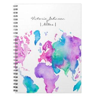 現代世界の地図の地球の明るい水彩画のペンキ ノートブック
