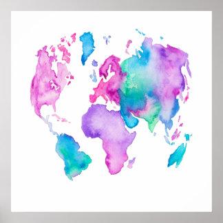 現代世界の地図の地球の明るい水彩画のペンキ ポスター