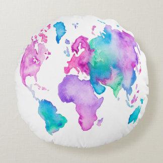 現代世界の地図の地球の明るい水彩画のペンキ ラウンドクッション
