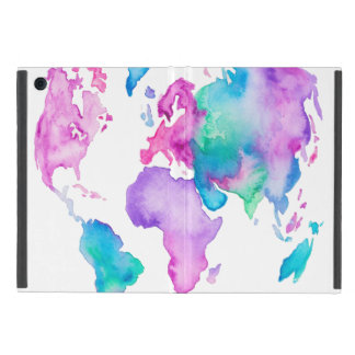 現代世界の地図の地球の明るい水彩画のペンキ iPad MINI ケース