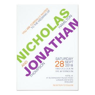 現代主義者|のタイポグラフィのゲイの結婚式招待状 12.7 X 17.8 インビテーションカード