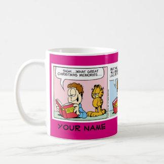 """""""現在の""""ガーフィールドの続きこま漫画のマグのために住んで下さい コーヒーマグカップ"""