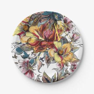 現実的な描かれた花花束パターン ペーパープレート