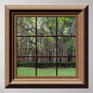 現実的な芝生の木の擬似窓場面ポスター ポスター