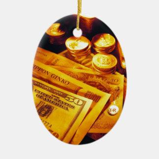現金および金ゴールド セラミックオーナメント