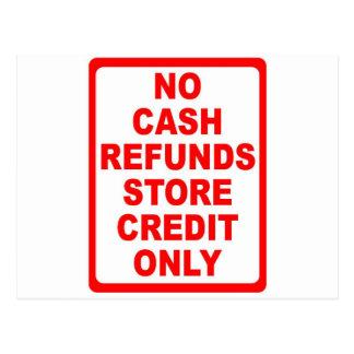 現金の払い戻しの店の信用印無し ポストカード