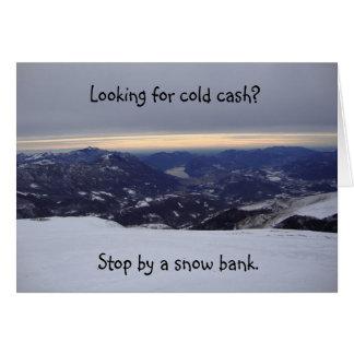 現金の雪銀行おもしろいな郵便はがき カード