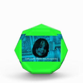 現金恋人(受諾可能なまたプラスチック)のお金の顔 表彰盾