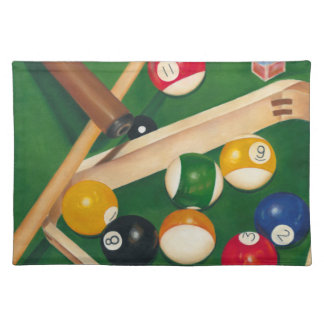 球およびチョークが付いているリアルなビリヤード台 ランチョンマット
