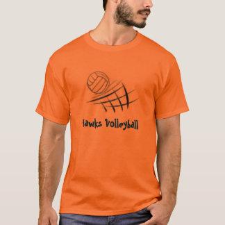 球および網のタカのバレーボール Tシャツ