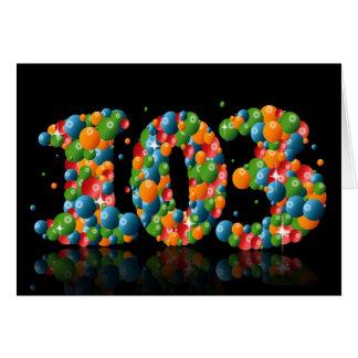 球から形作られる数を用いる103rd誕生日 カード