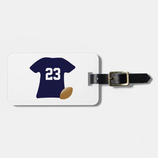 球が付いているあなたのフットボールのワイシャツ ネームタグ