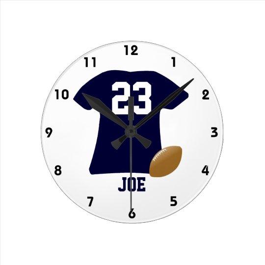 球が付いているあなたのフットボールのワイシャツ ラウンド壁時計