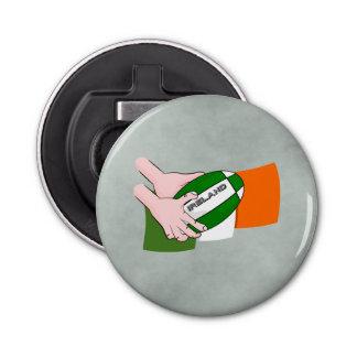 球が付いているアイルランドのラグビーのチームサポータ旗 栓抜き