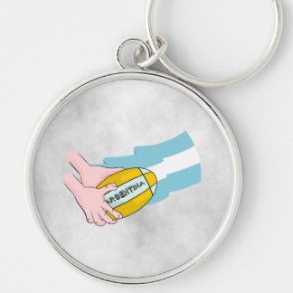 球が付いているアルゼンチンのラグビーのチームサポータ旗 キーホルダー