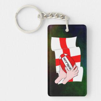 球が付いているイギリスのラグビーのチームサポータ旗 キーホルダー