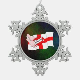 球が付いているイギリスのラグビーのチームサポータ旗 スノーフレークピューターオーナメント