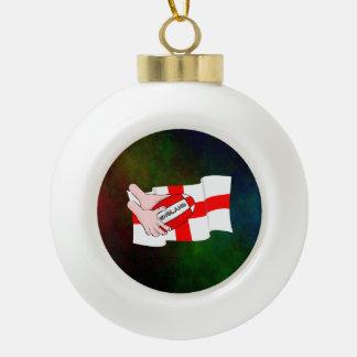球が付いているイギリスのラグビーのチームサポータ旗 セラミックボールオーナメント