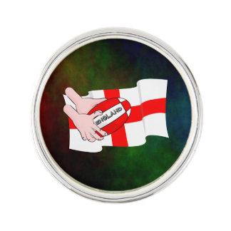 球が付いているイギリスのラグビーのチームサポータ旗 ラペルピン