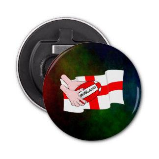 球が付いているイギリスのラグビーのチームサポータ旗 栓抜き