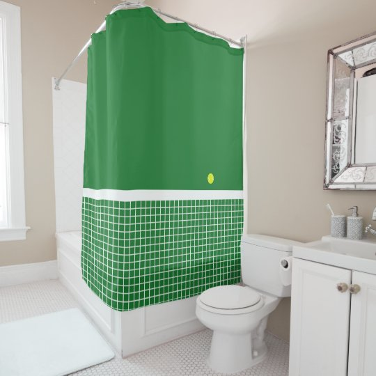 球が付いている草の~のテニスコート シャワーカーテン