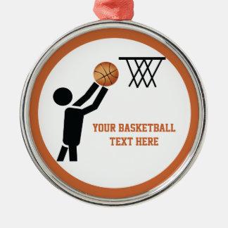 球のカスタムのバスケットボール選手 メタルオーナメント