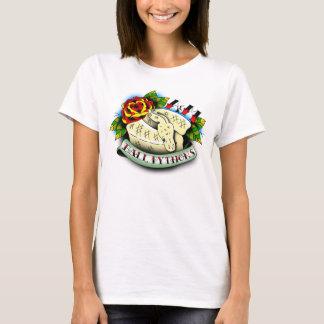 球の大蛇のTシャツ-白い入れ墨のデザイン Tシャツ