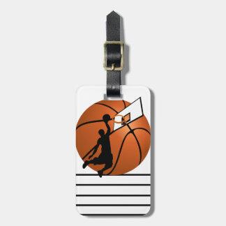 球の確実のバスケットボール選手w/Hoop ラゲッジタグ
