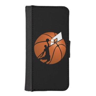 球の確実のバスケットボール選手w/Hoop iPhoneSE/5/5sウォレットケース